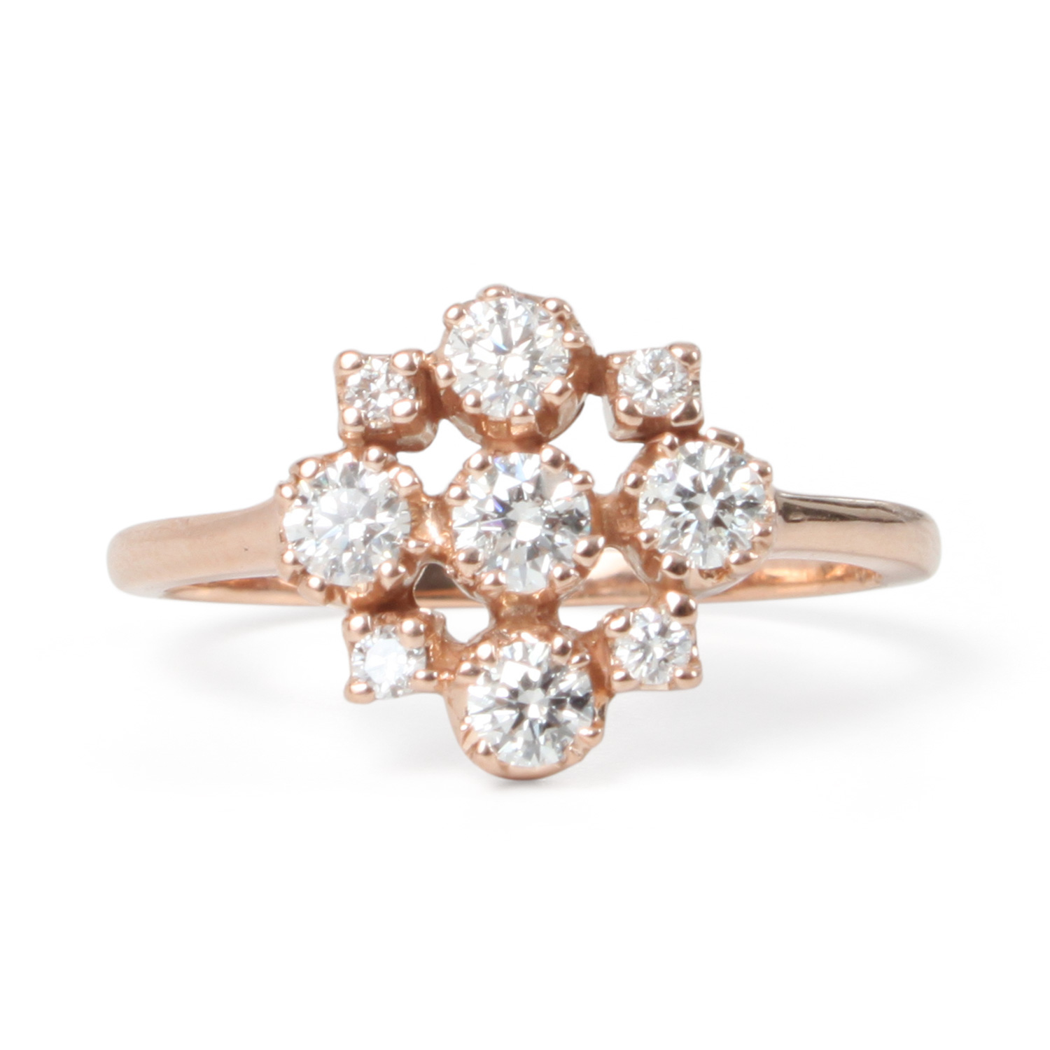 white diamond rings cluster wedding gold ring