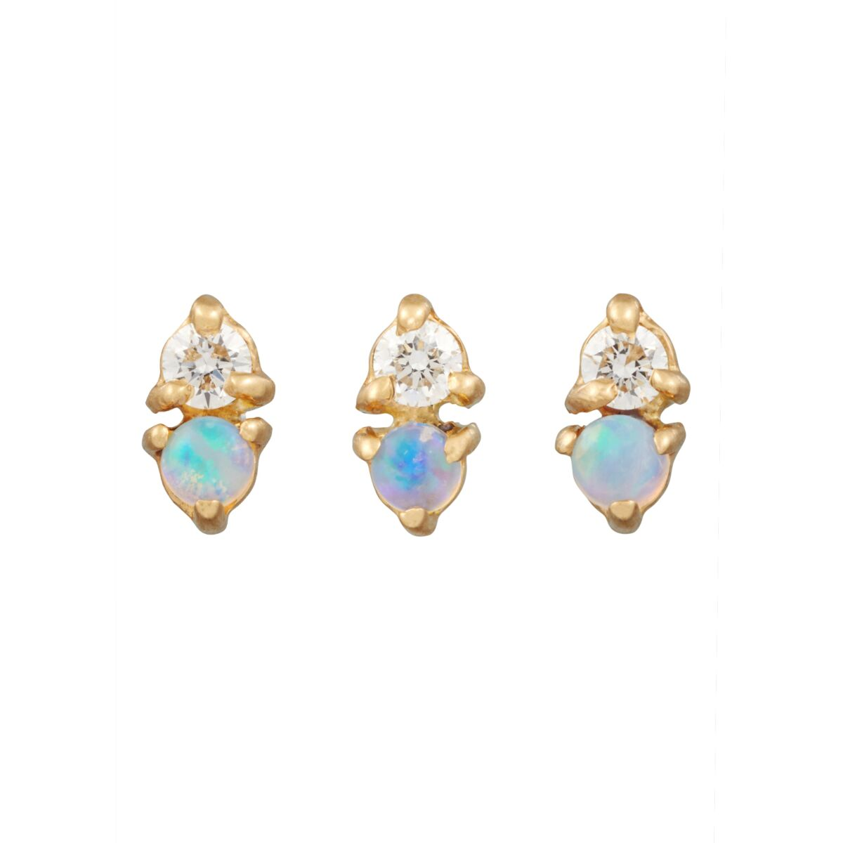 Two-Step Earring, Opal & Diamond (Single) image