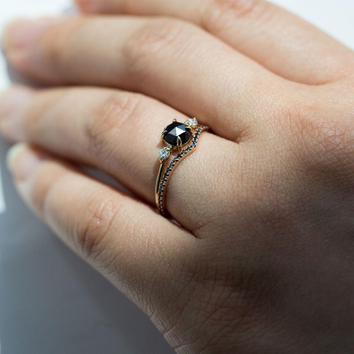 Fairy Light Eternity Band, curved, black diamond image