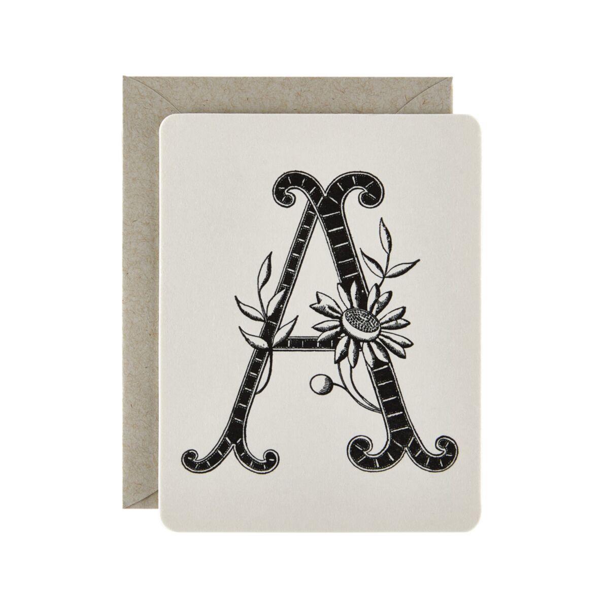 Flowering Monogram Card image
