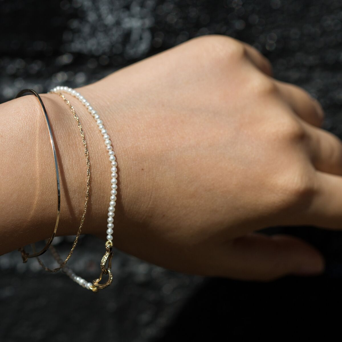 Serpentine Delilah Bracelet, Pearl image