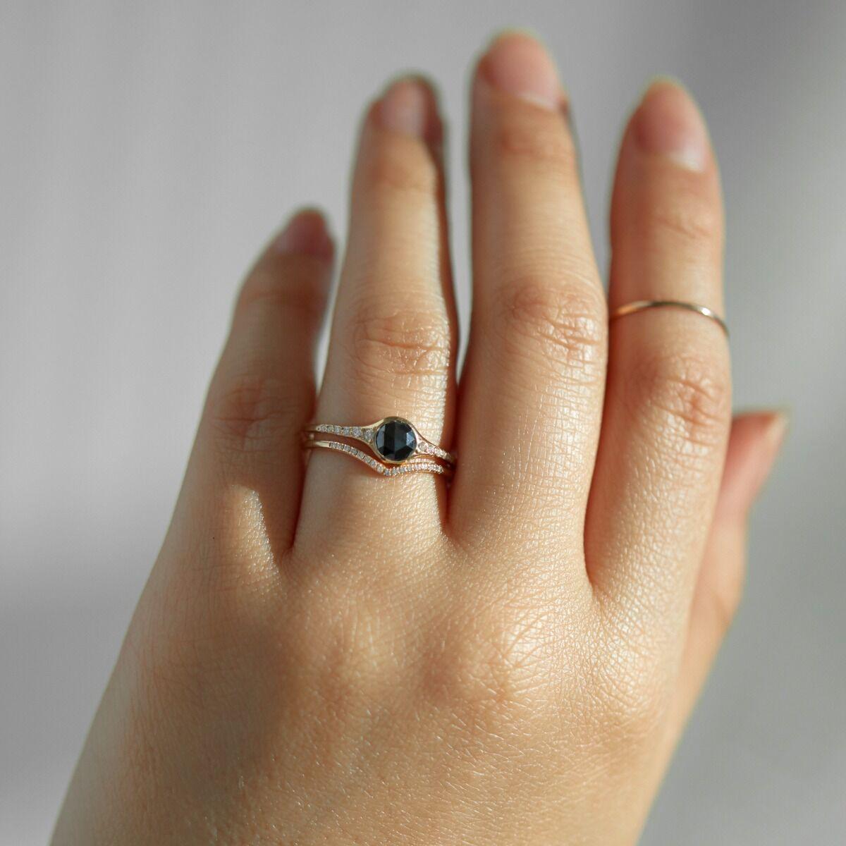 Florence Solitaire Ring, Black Diamond image