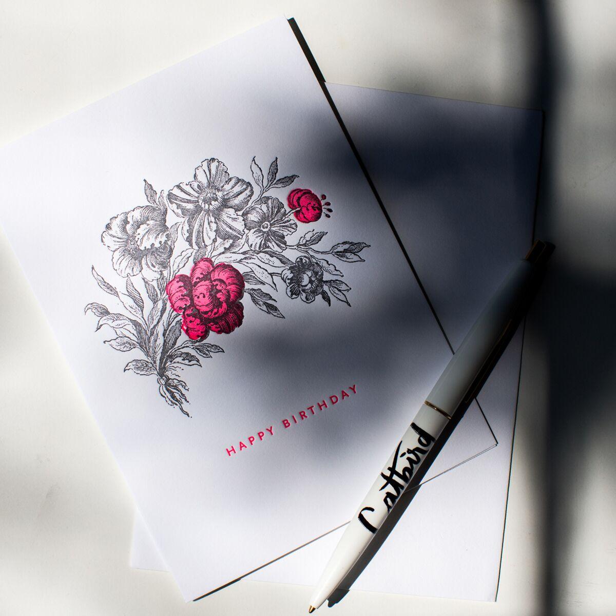 Hot Pink Flower Birthday Card