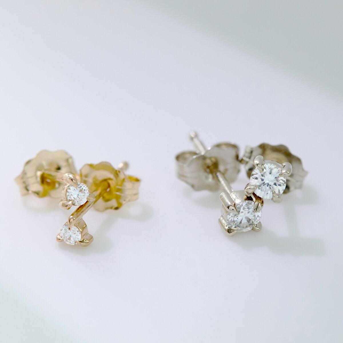 Angel Hair Diamond Stud, Sparkler, White Gold (single) image