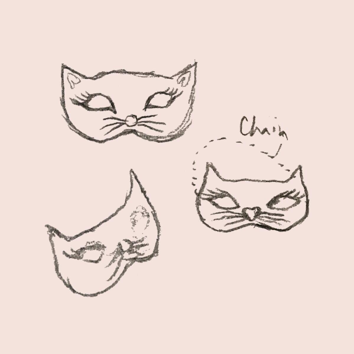Kitten Mask Charm, Yellow Gold image