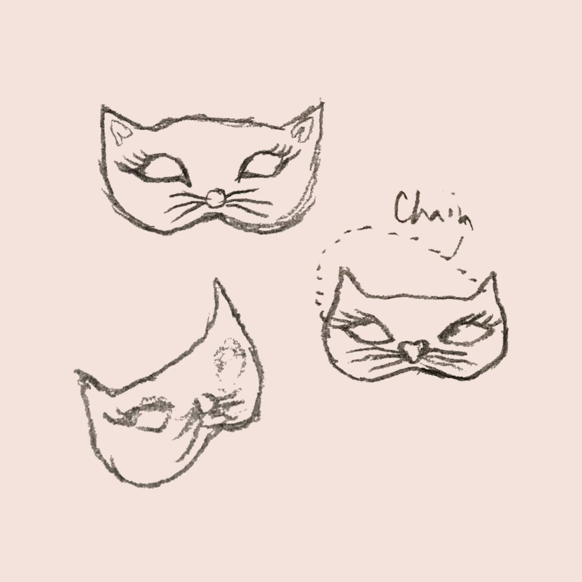 Kitten Mask Charm, Silver image