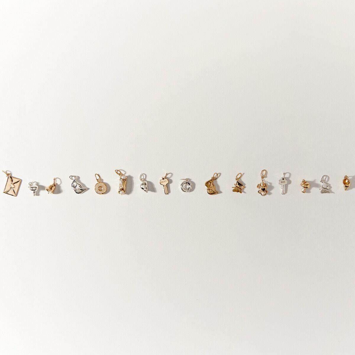 Littlest Mushroom Charm, Yellow Gold image