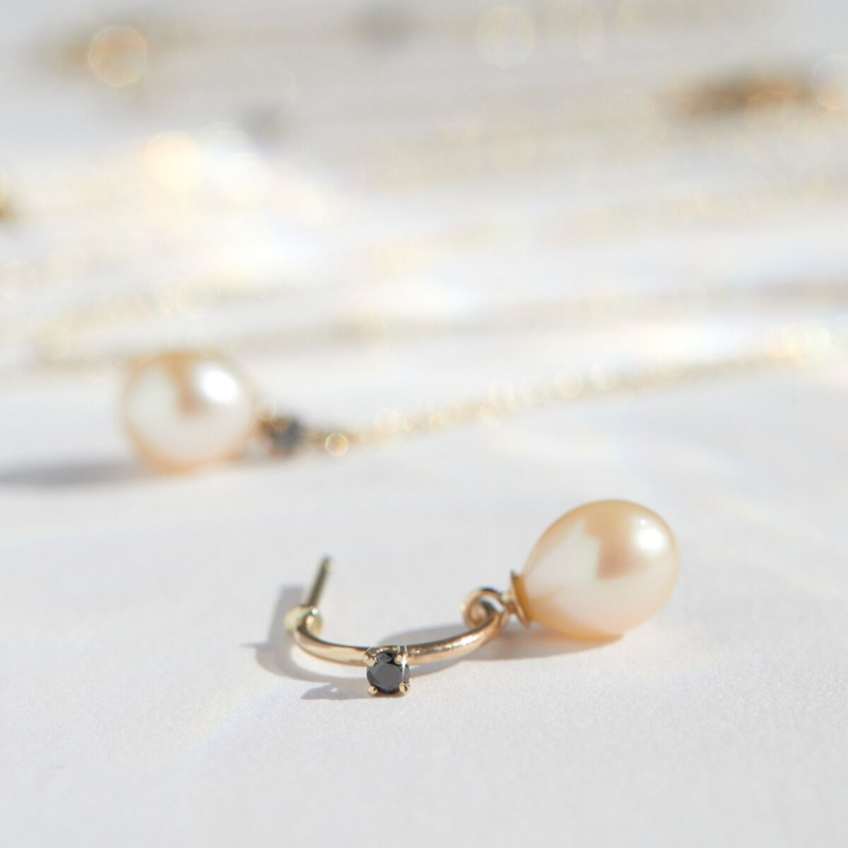 Pearl and Black Diamond Hoop (single) image