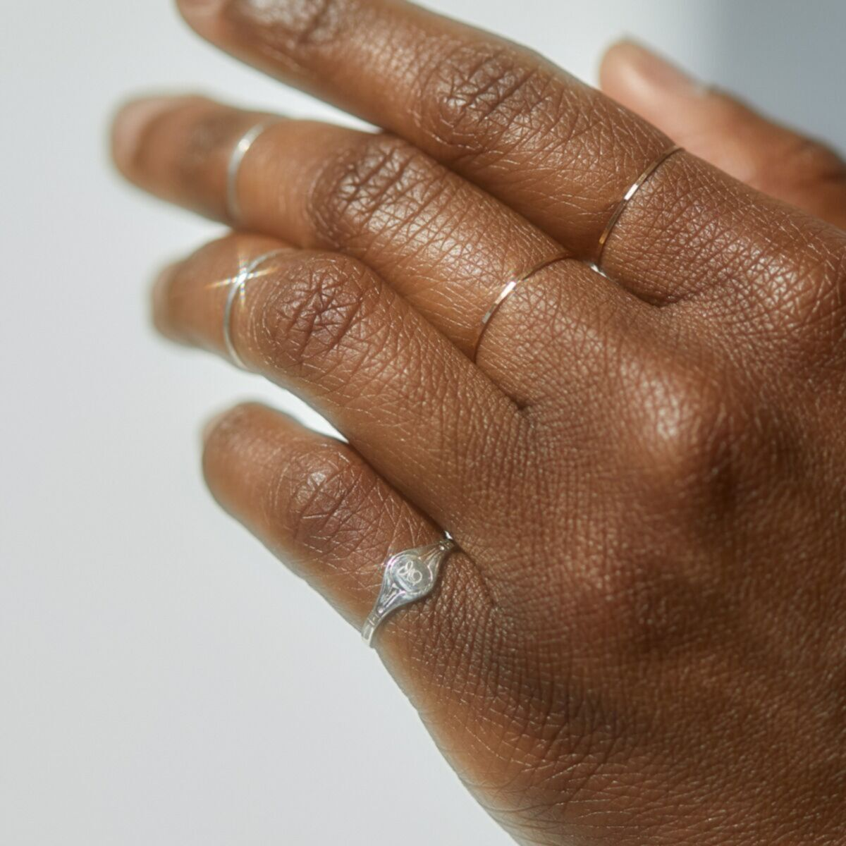 Classic Hammered Ring, Silver image