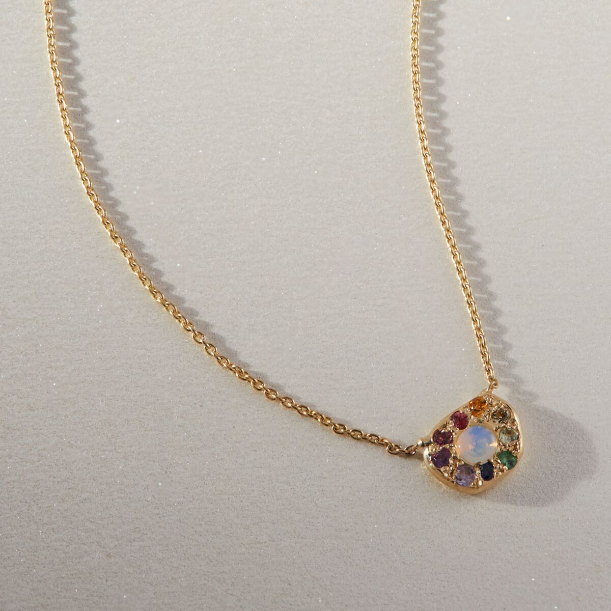 Disc Necklace, Rainbow Opal image