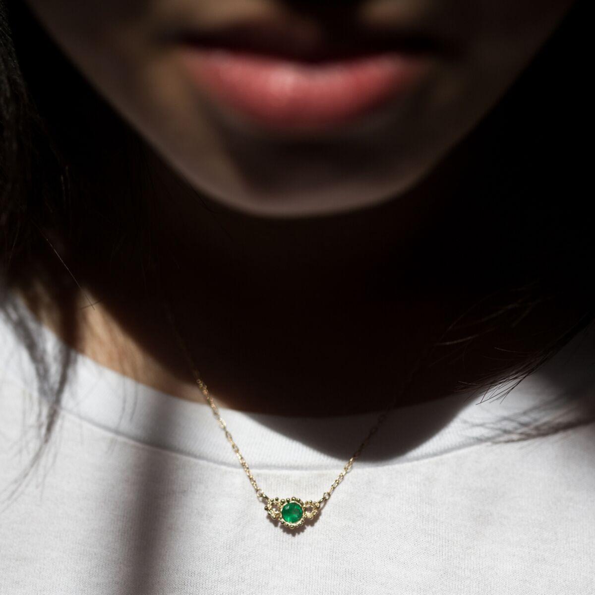 Emerald Diamond Twinkle Necklace image