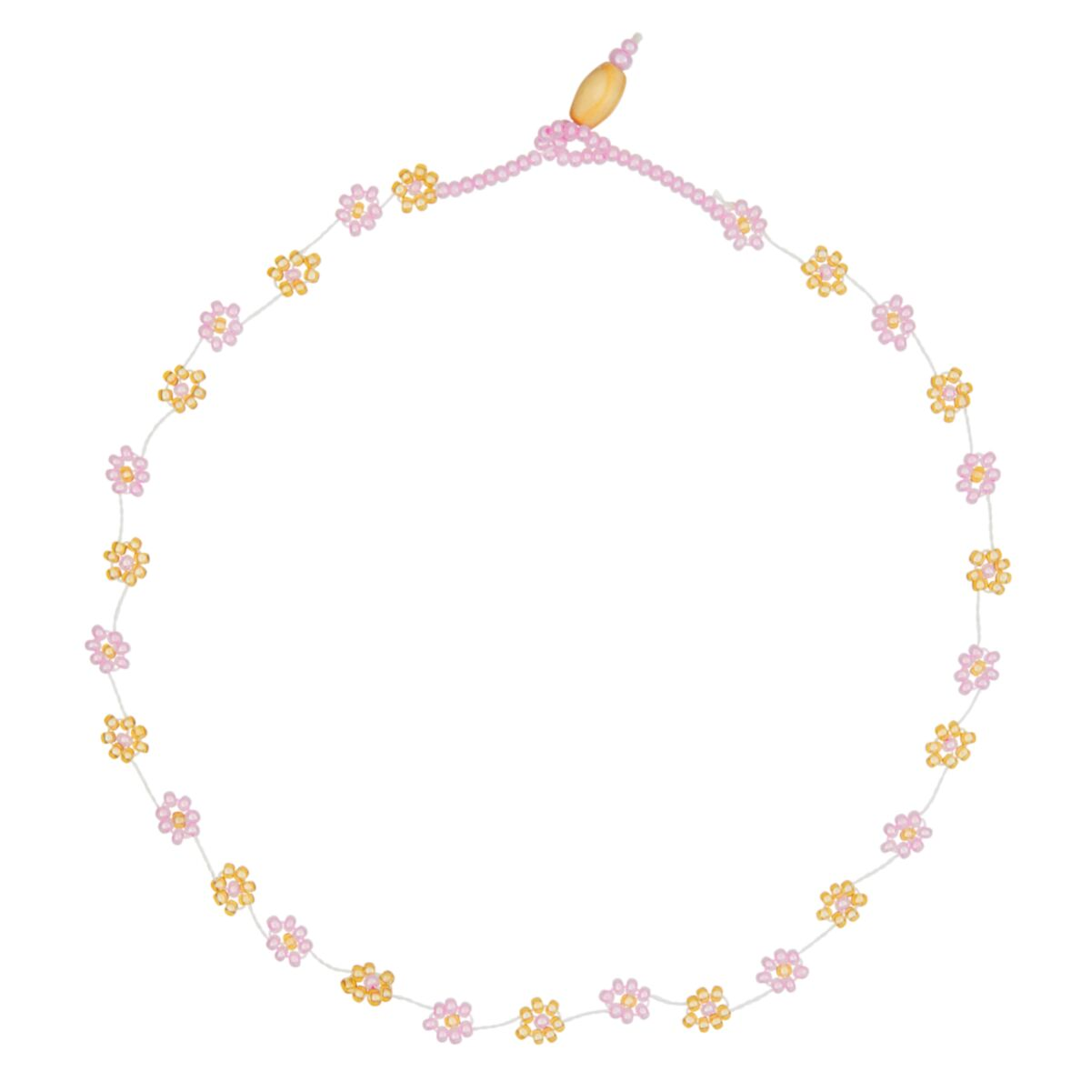 Daisy Chain Choker, pink and gold image