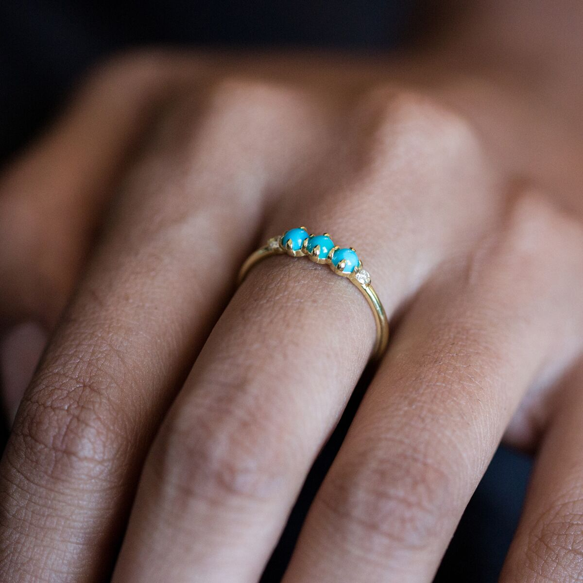 Felicia Turquoise and Diamond Ring image