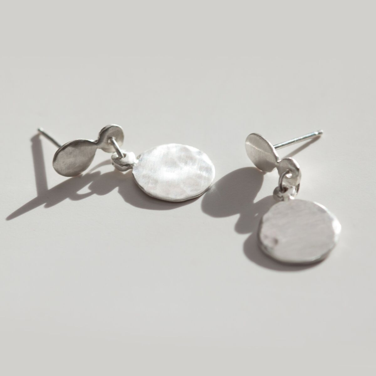 Hammered Disc Earrings, silver image