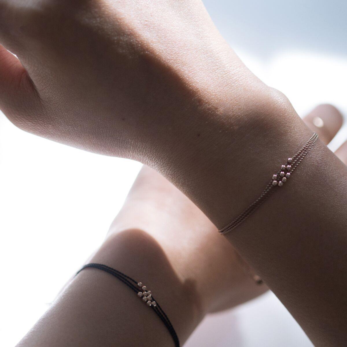 Friendship Bracelet with Rose Gold Beads, Black image