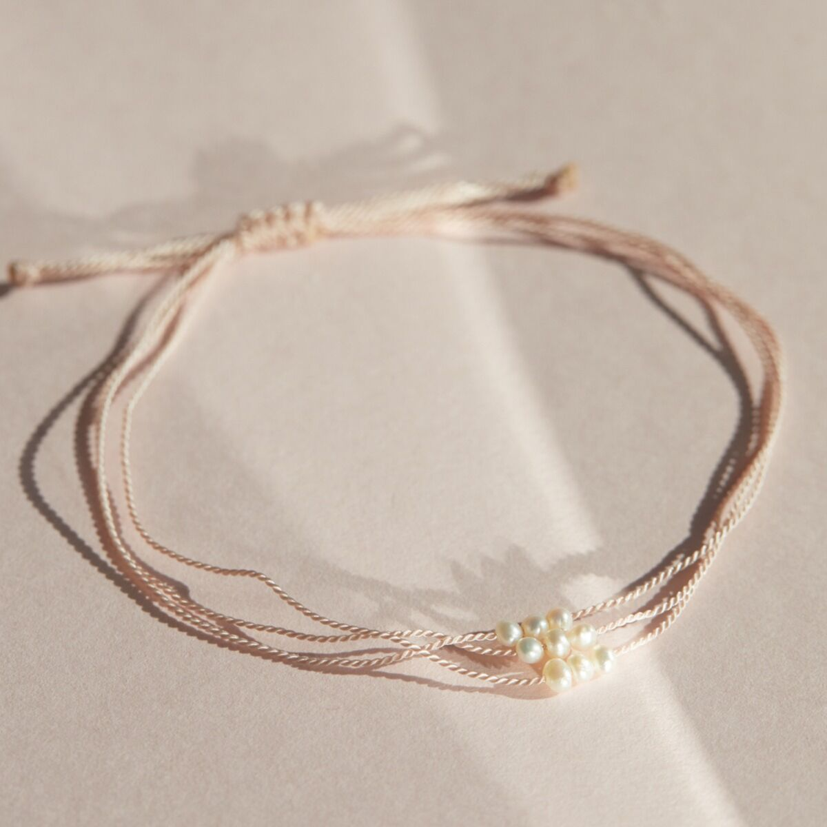 Friendship Bracelet With Pearls, Pink image