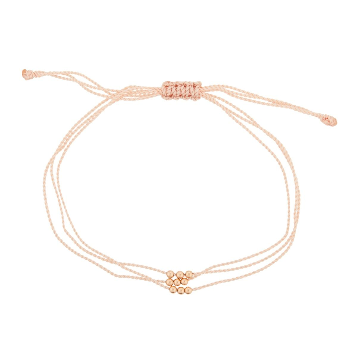 Friendship Bracelet with Rose Gold Beads, Pink image