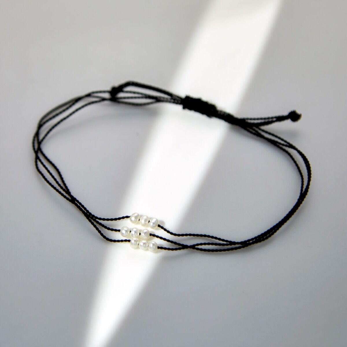 Friendship Bracelet With Pearls, Black image