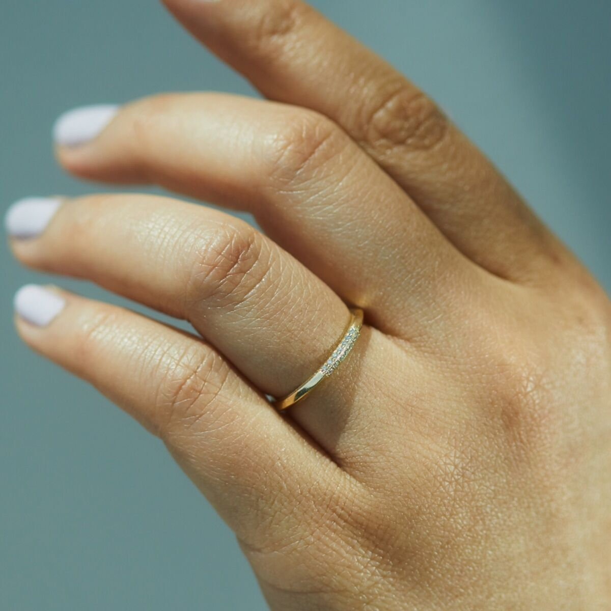 Knife Edge Semi Pave Ring image