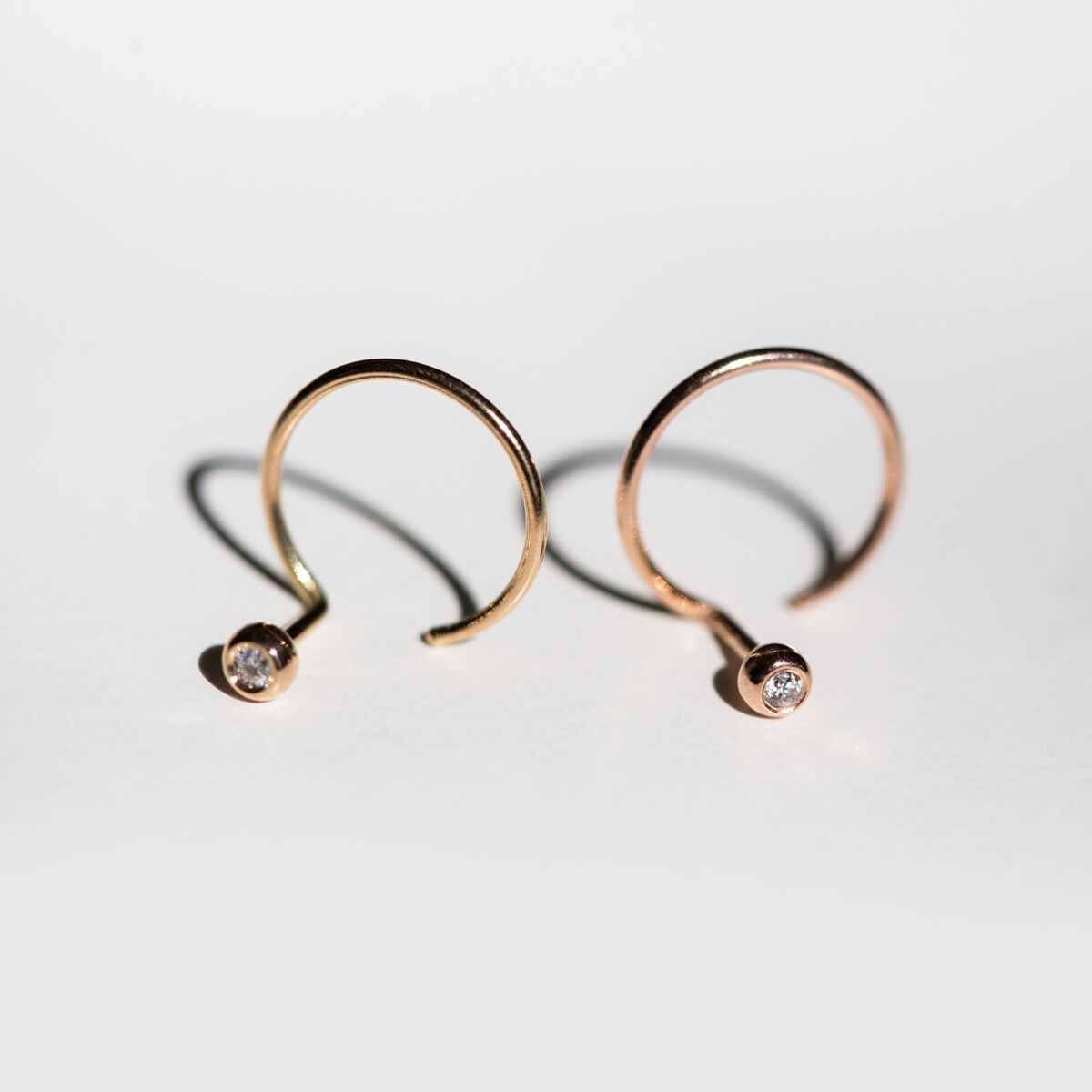 Diamond Ear Nut Earring, Yellow Gold (SINGLE) image