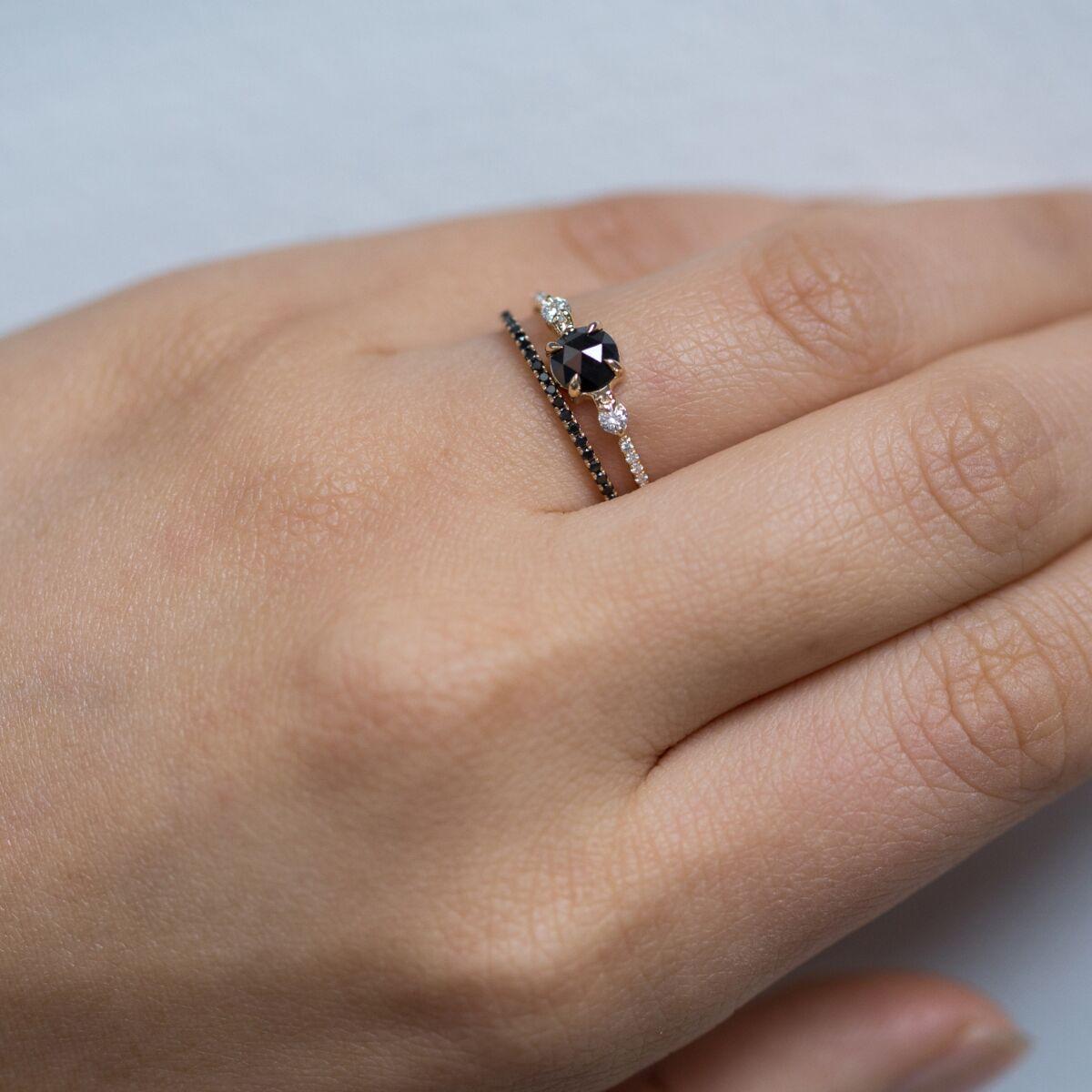Fairy Light Eternity Band, Black Diamonds image