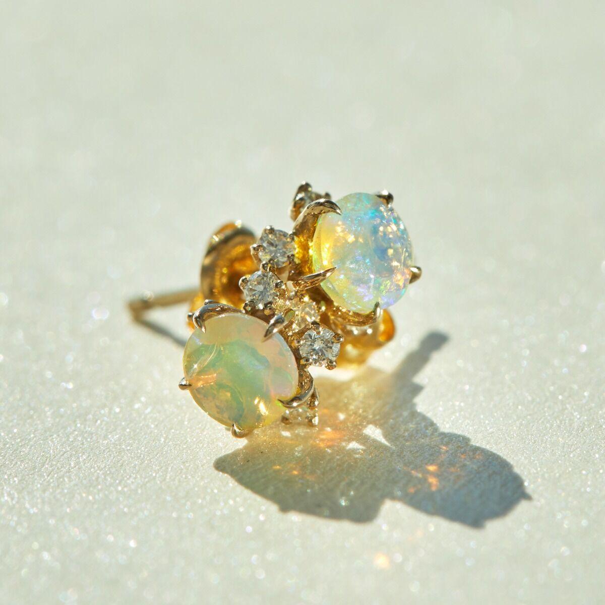 Sakura Stud Earrings,  Opal image
