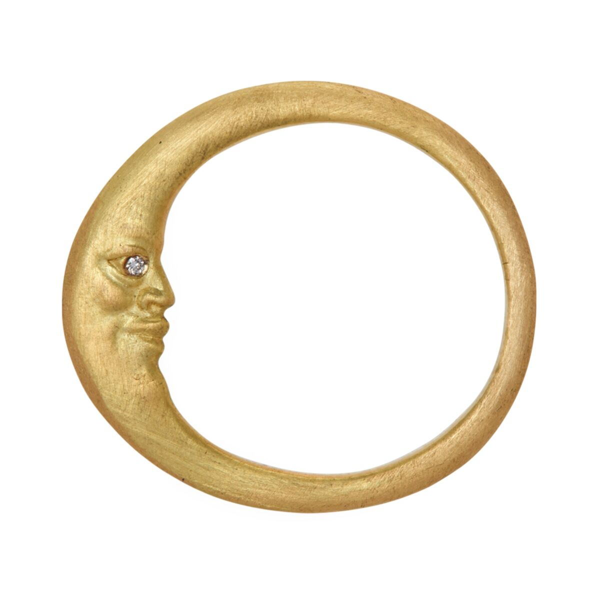Crescent Moonface Ring with Diamond Eyes image