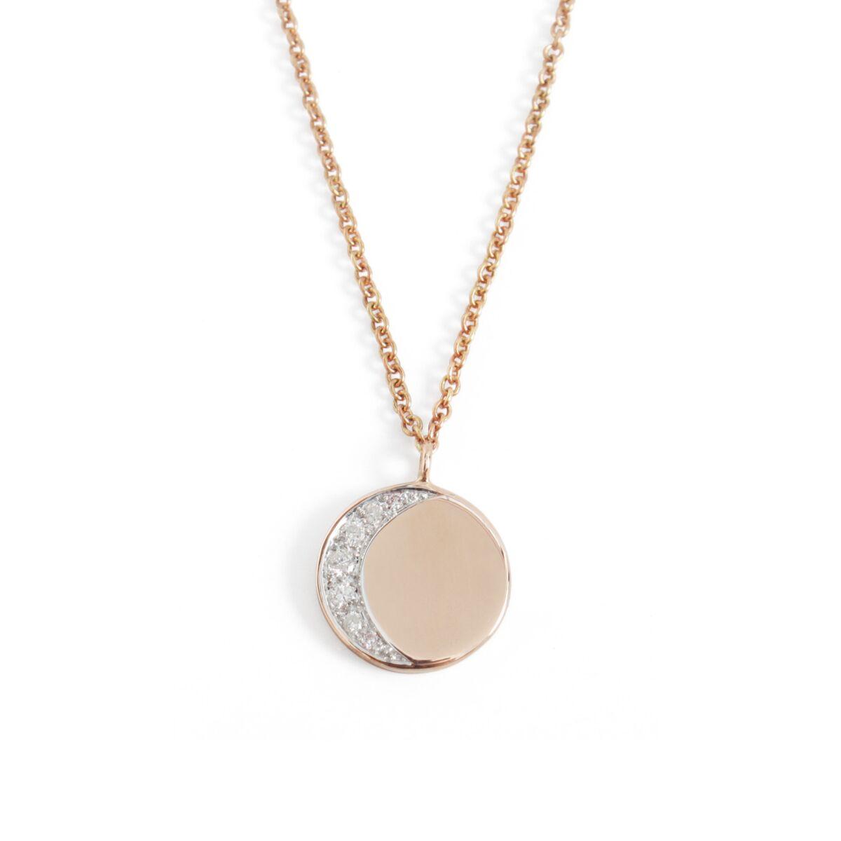 Moon Phase Necklace, rose gold image