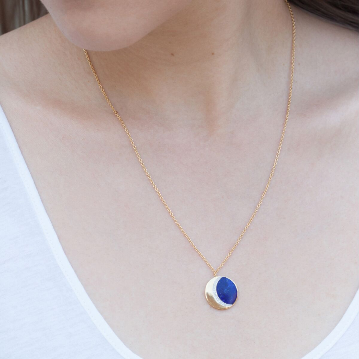 Moon Phase Necklace, Lapis image