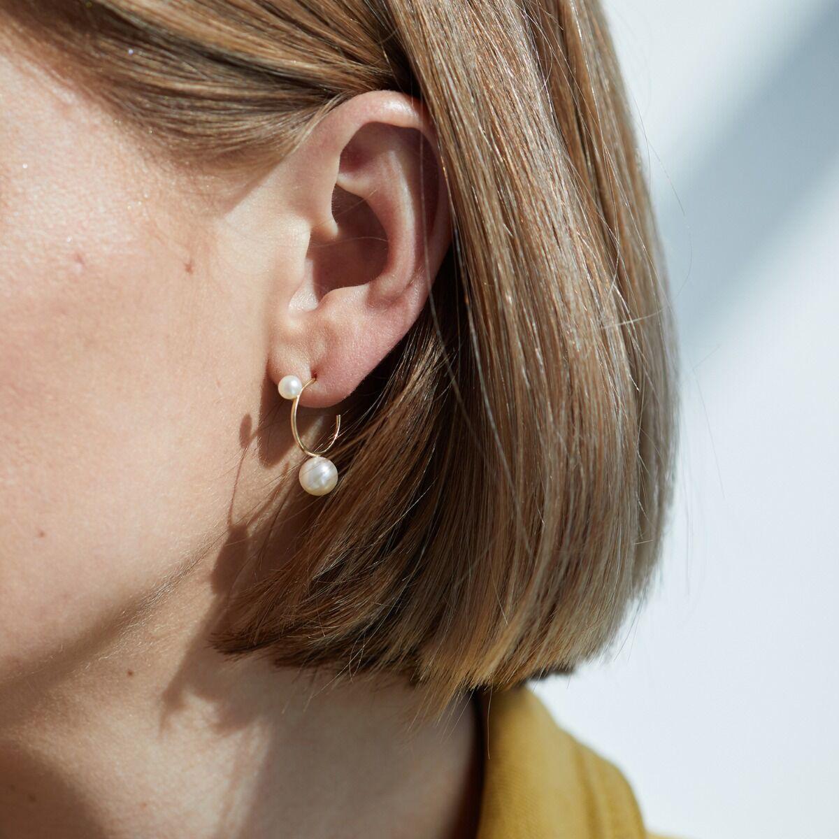 Harlequin Pearl Hoop Earrings image