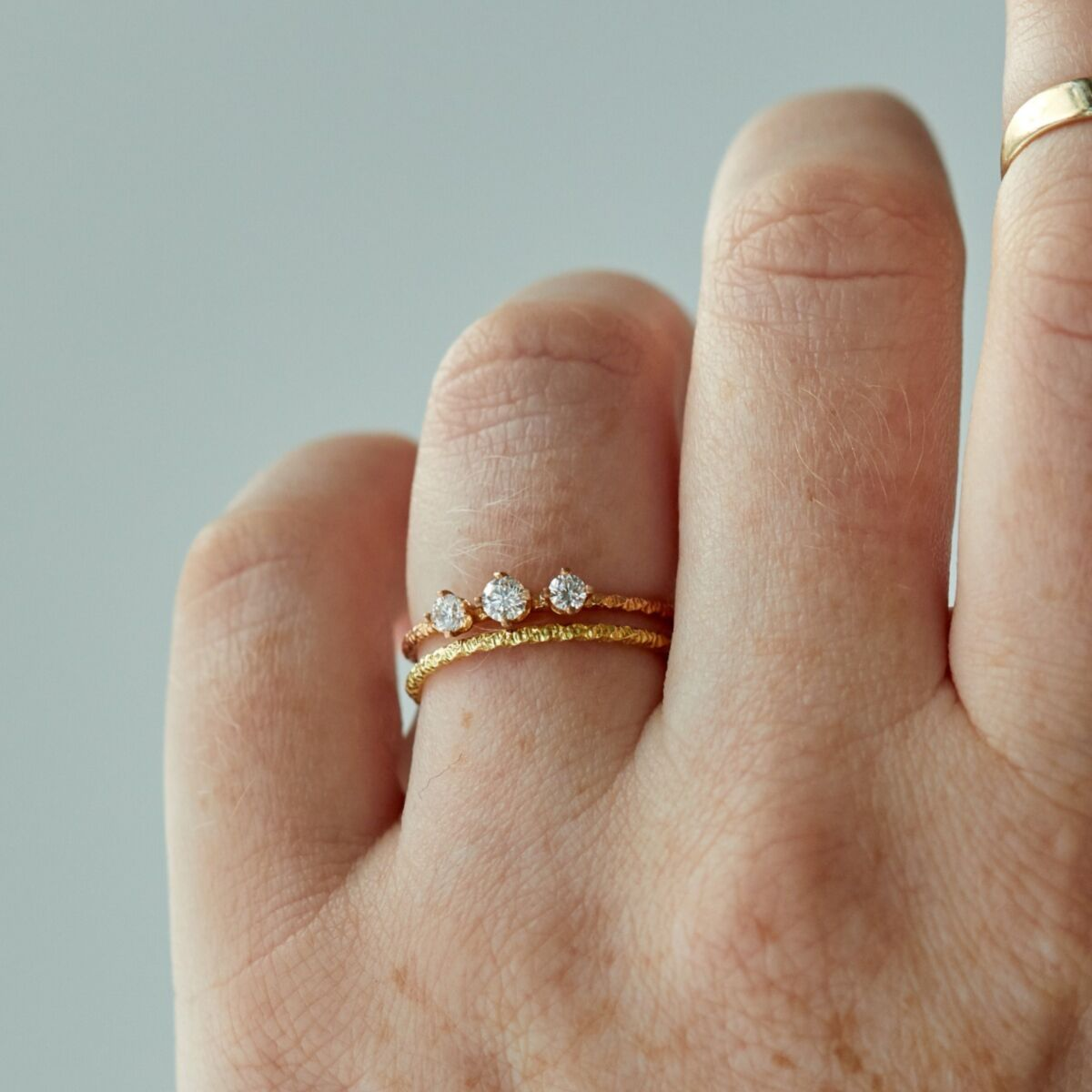 Homespun Ring, Three White Diamond image
