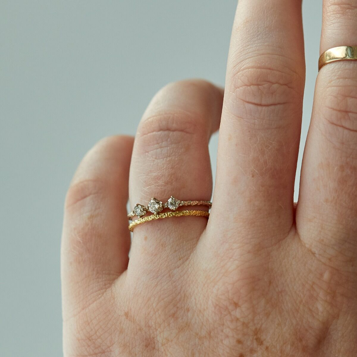 Homespun Ring, Three Champagne Diamond image