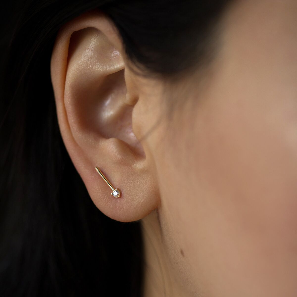 One-Step Bar Earring, Diamond (single) image