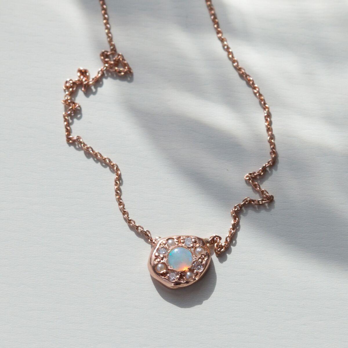 Disc Necklace, Opal image