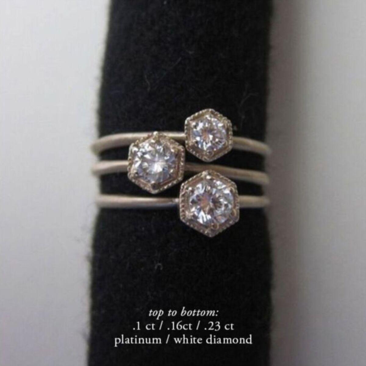 Hexagon Ring, White Diamond, Gold image