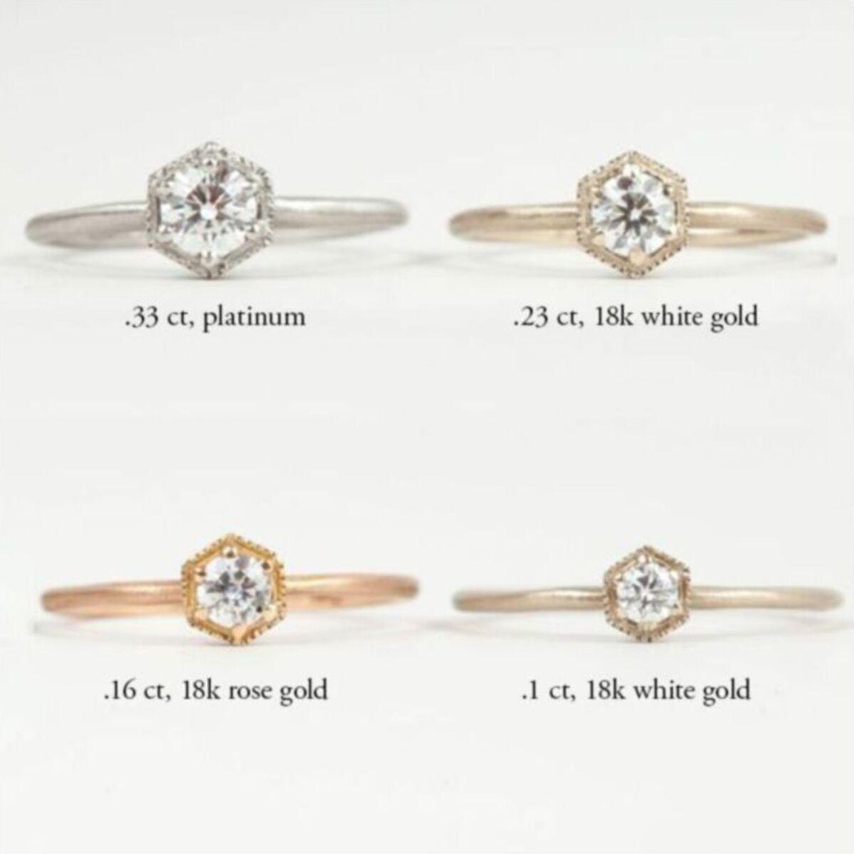 Hexagon Ring, White Diamond, Platinum  image