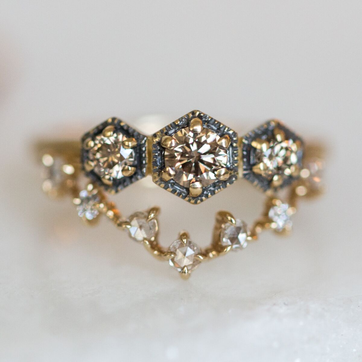 Triple Hexagon Ring, Champagne Diamond image