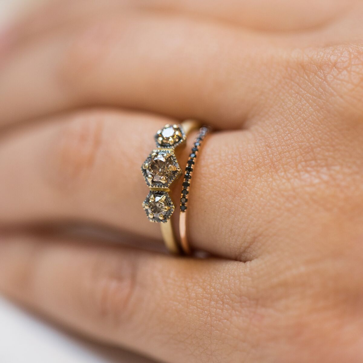 Triple Hexagon Ring, Champagne Diamond image