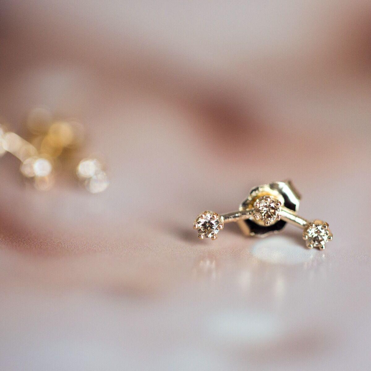 Triple Stone Stud, Champagne Diamond (single) image