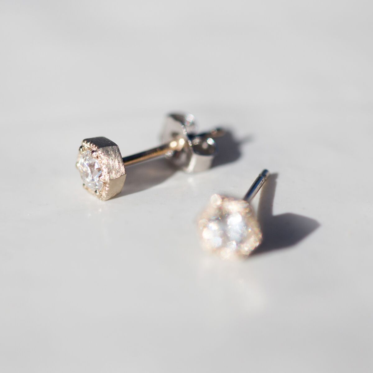Hexagon Earrings, White Diamonds image