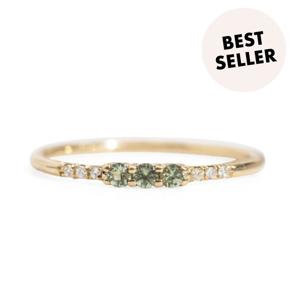 Three Green Sapphire Equilibrium Ring image