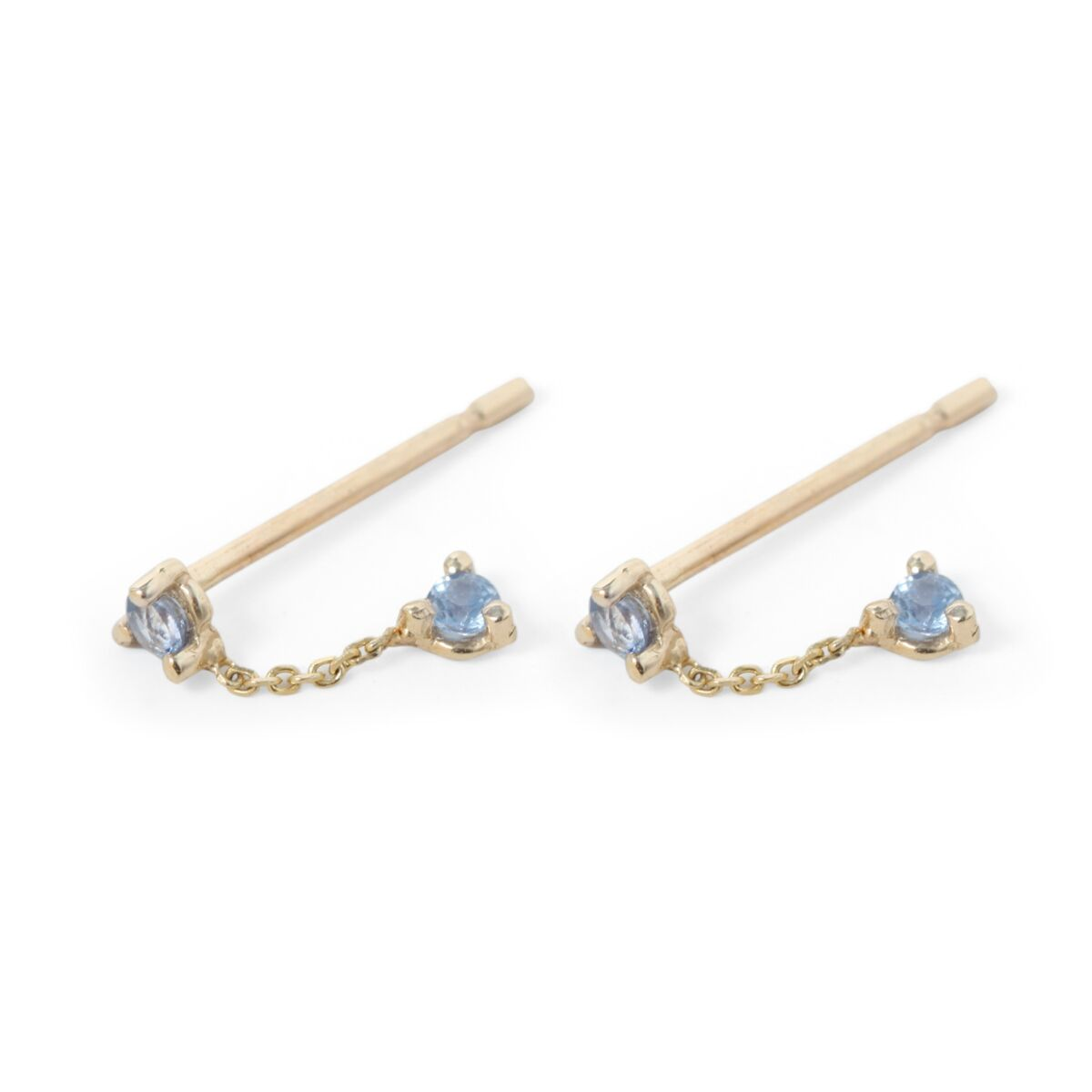 Two-Step Chain Earring, Sapphire (Single) image