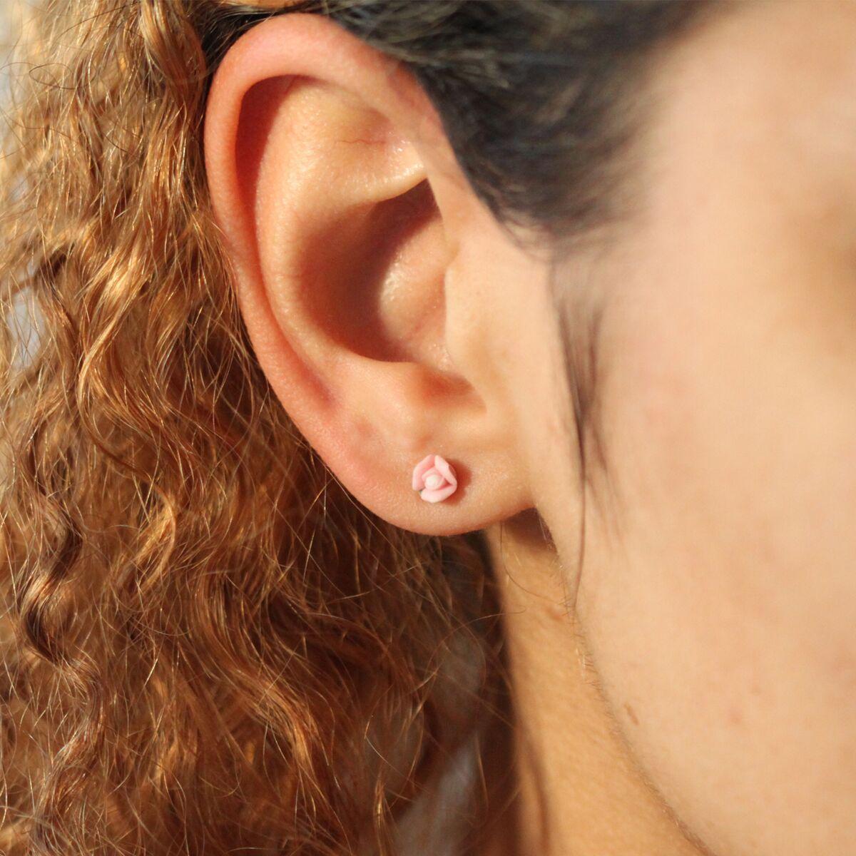 Marzipan Rose Earrings, Carnation Pink image