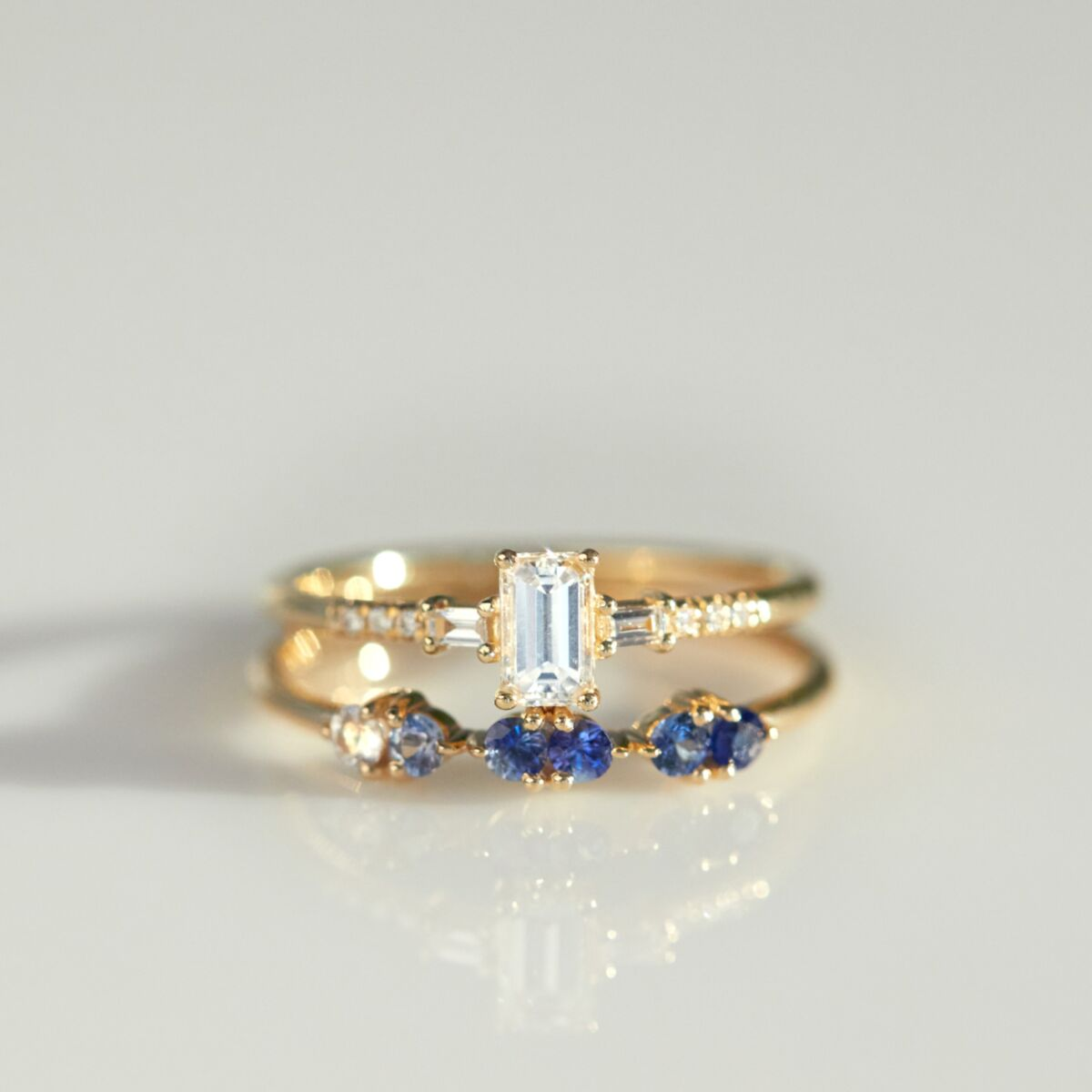 Demi Paired Ring, Gradient Blue Sapphire image