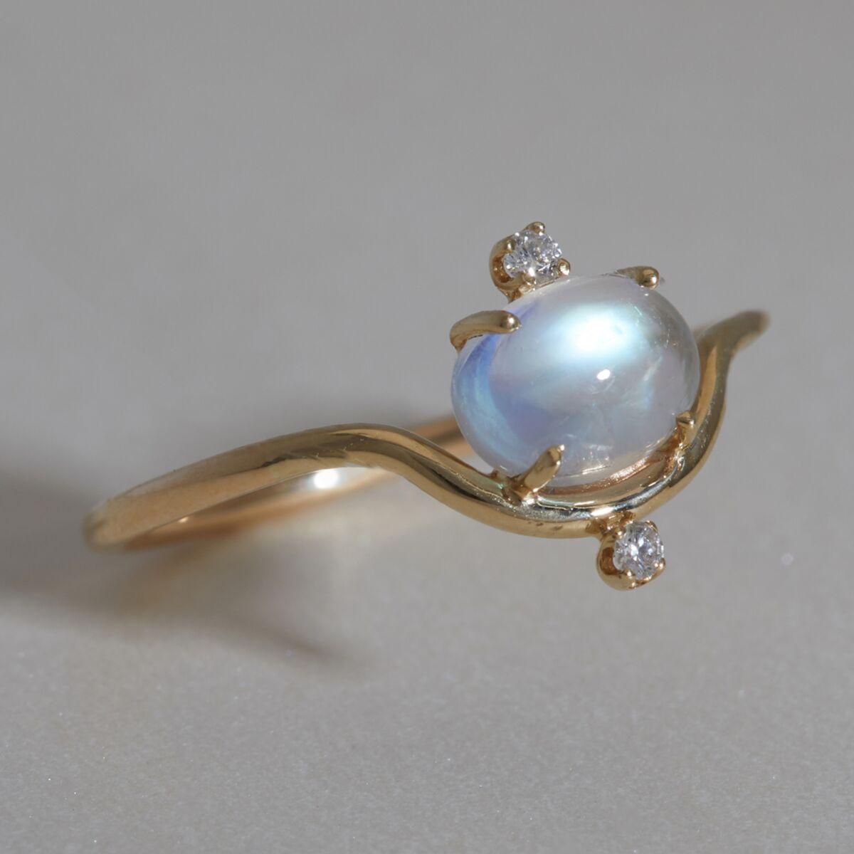 Nestled Moonstone & Diamond Ring image