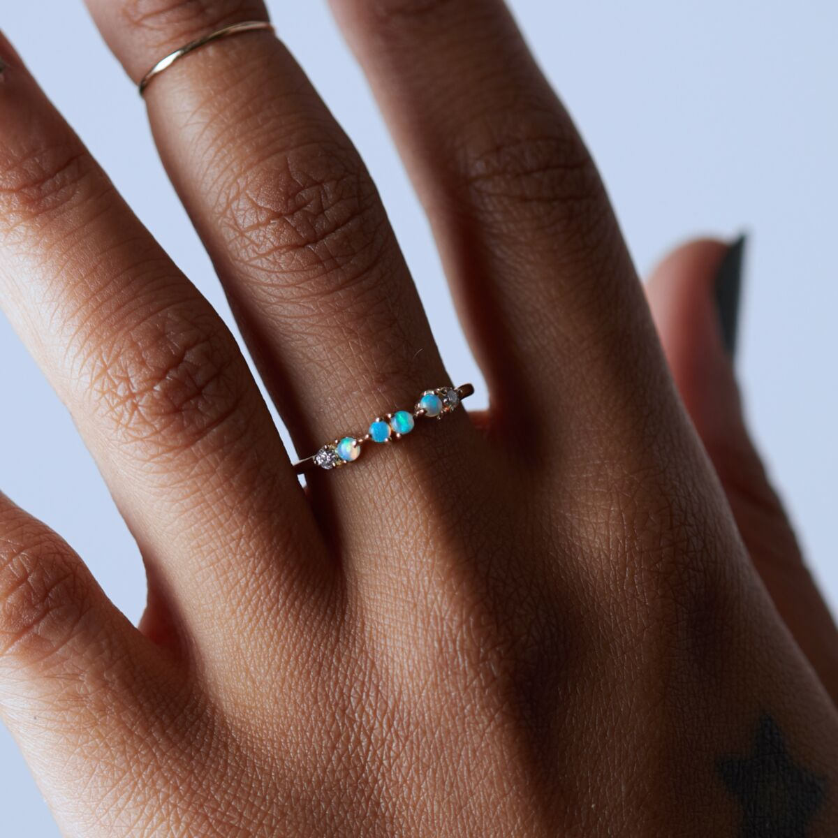 Opal & Diamond Demi-Paired Ring image