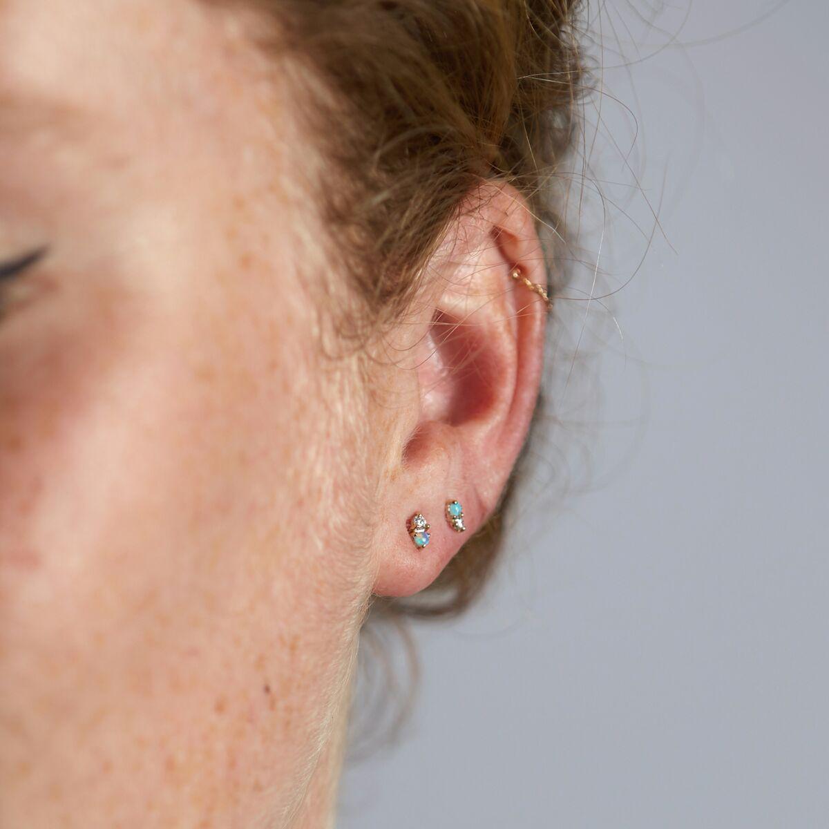 Two-Step Earring, Opal & Diamond (Single) image
