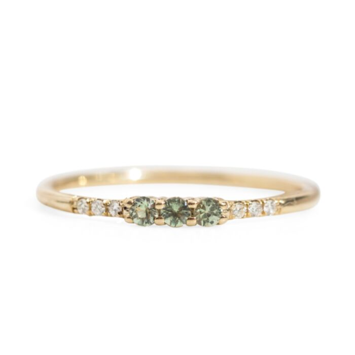 Three Green Sapphire Equilibrium Ring