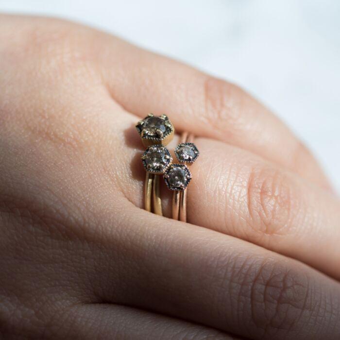 Hexagon Ring, Champagne Diamond image