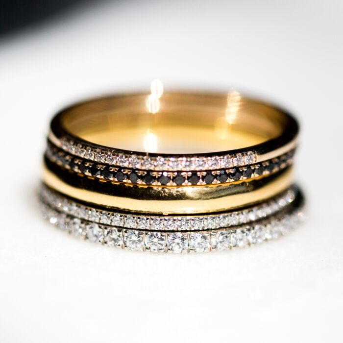 Fairy Light Eternity Band, Black Diamonds image